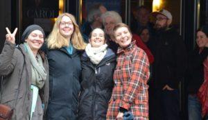 Mit-Organisatorinnen des Films mit Regisseurin: Zoe Heuschkel und Anna Wissmann vom Ermekeilgarten, Ines Reinisch und Gesa Maschkowski, von Bonn-im-Wandel