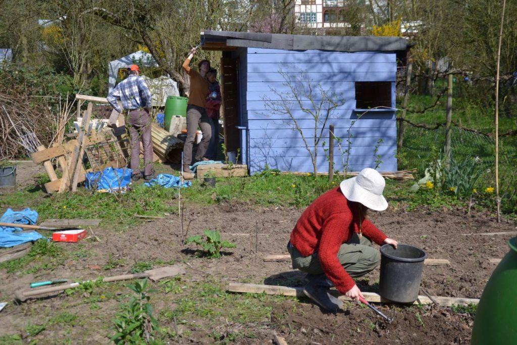Gemeinschaftsgarten im Sommer mit blauem Gartenhaus und Gärtnerin mit Hut