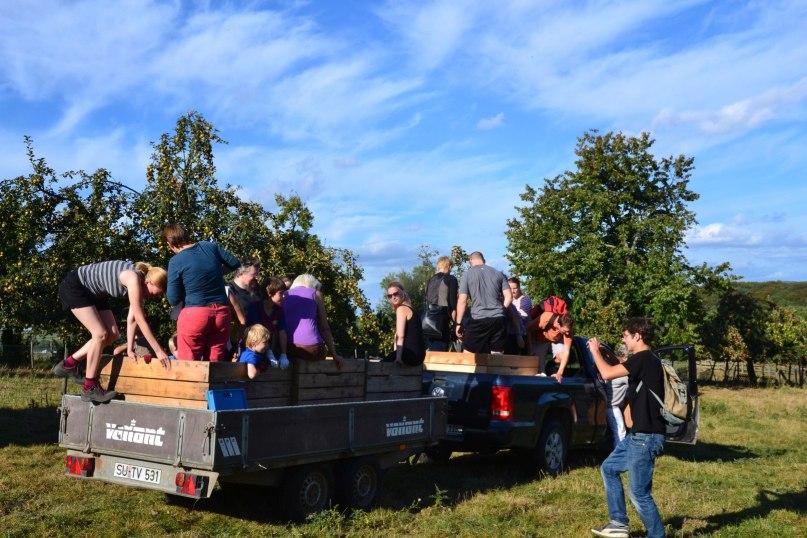 Menschen auf einem Hänger vor Apfelbäumen