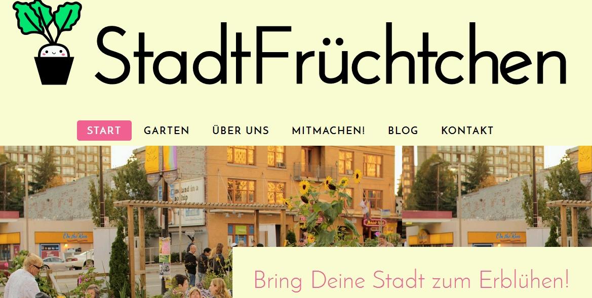 Screenshot von der Website Stadtfrüchtchen