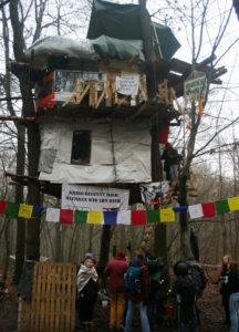 """Unsre Gruppe vor dem dreistöckigen Baumhaus """"The Tower"""""""