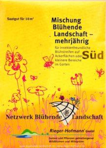 orangegelbe Tüte mit Saatgut vom Netzwerk Blühende Landschaften