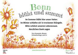 Bonn blüht und summt-Schild mit roten Blüten, Insekten