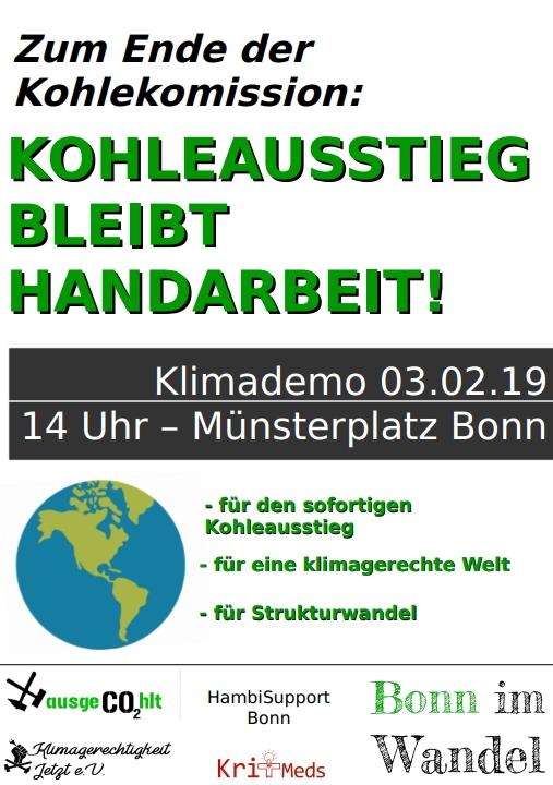 """Plakat mit dem Titel """"Kohleausstieg bleibt Handarbeit - für eine klimagerechte Welt - für Strukturwandel"""""""
