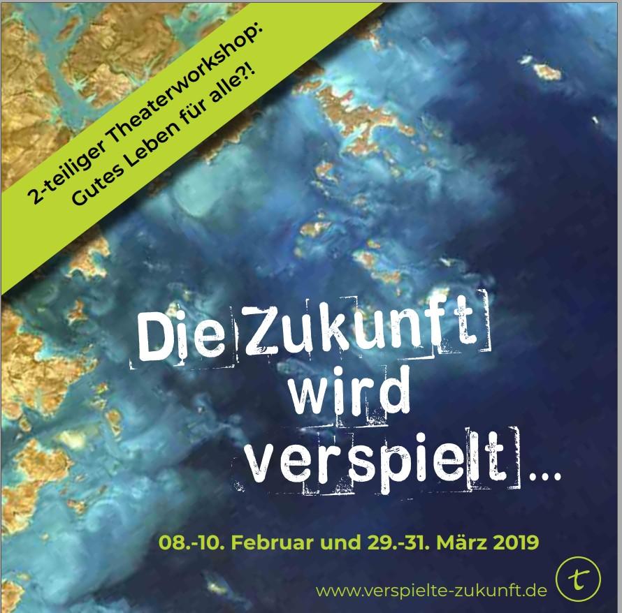 Flyer mit Titel: Die Zukunft wird verspielt, im Hintergrund unsere Erde