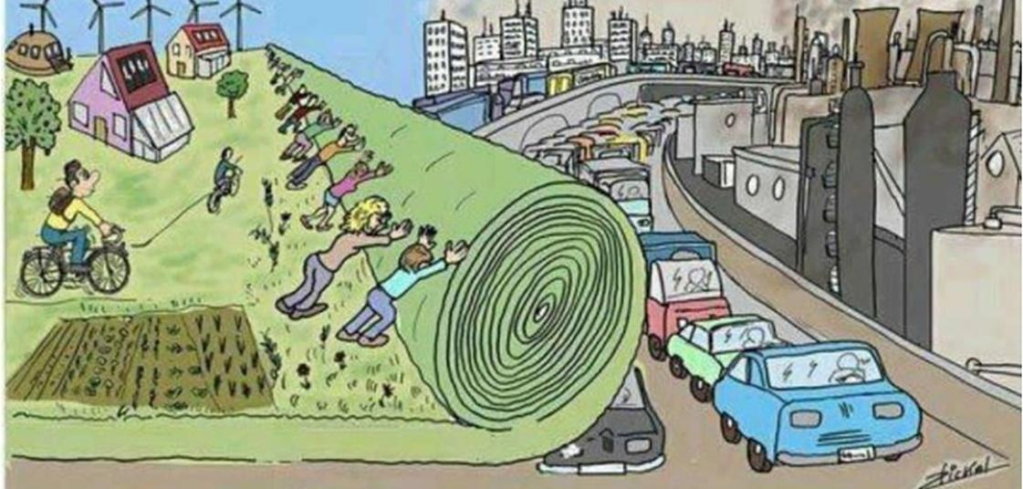 Menschen rollen große Grasmatte über eine graue Stadt