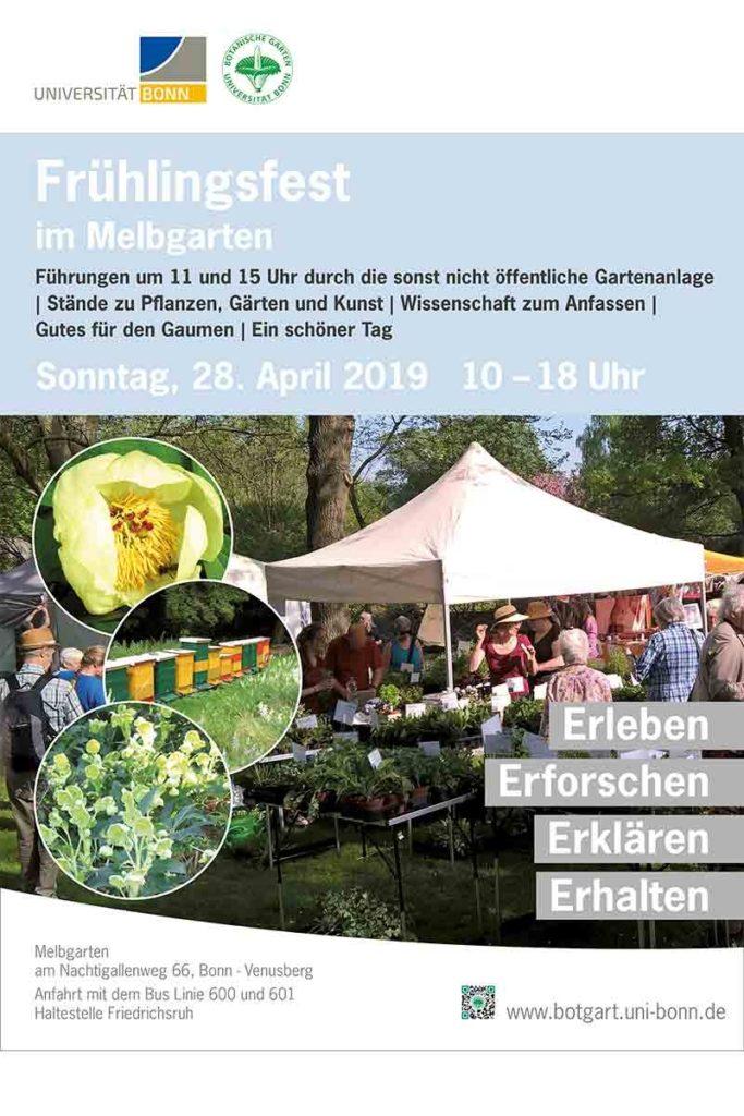Plakat mit Zelt und Blumen