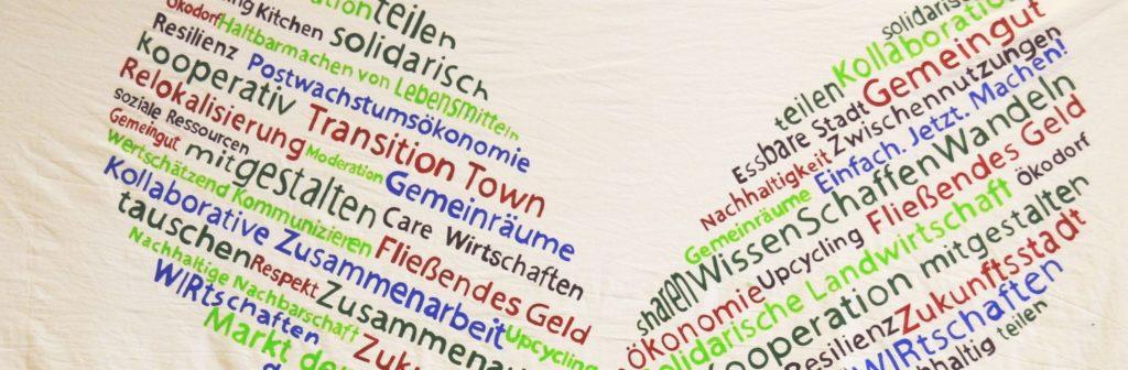 Transition Wörter auf einem Banner