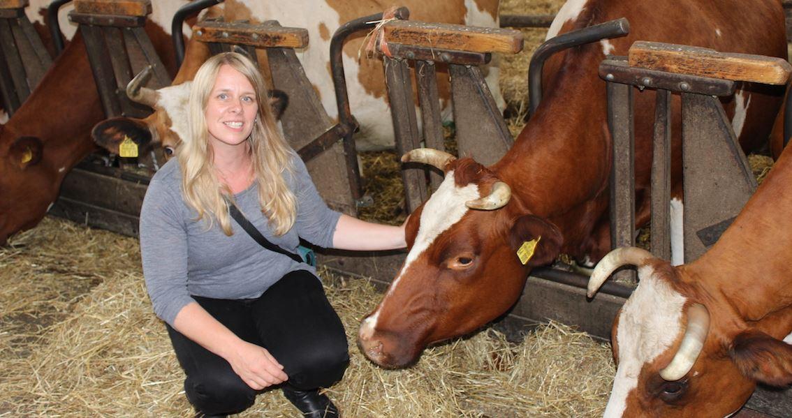 Dorle Gothe Regionalwert AG im Milchviehstall mit Kühen