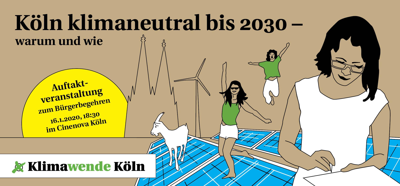 Grafik Köln Klimaneutra, Windräder und Solarpanels,