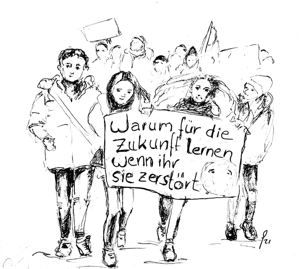 """Demonstriertende Jugendliche mit Banner """"Warum für die Zukunft lernen wenn ihr sie zerstört"""""""