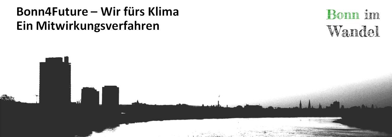 Silhouette von Bonn schwar-weiß mit Posttower und langem Eugen von der Südbrücke aus