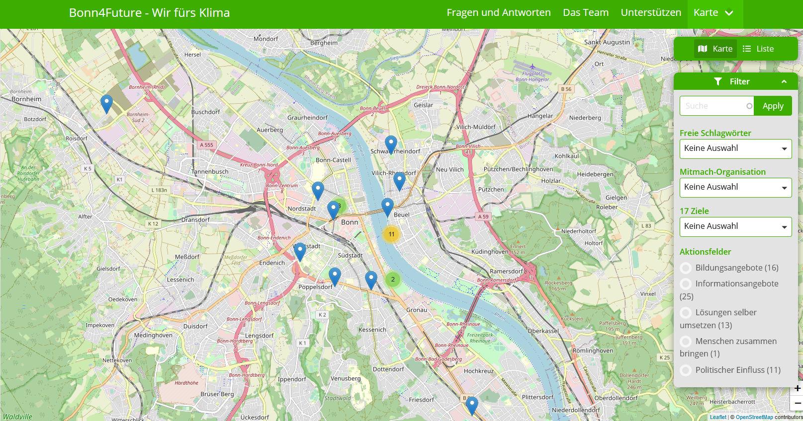 Screenshot von der Organisations-Karte unter https://www.bonn4future.de/de/map