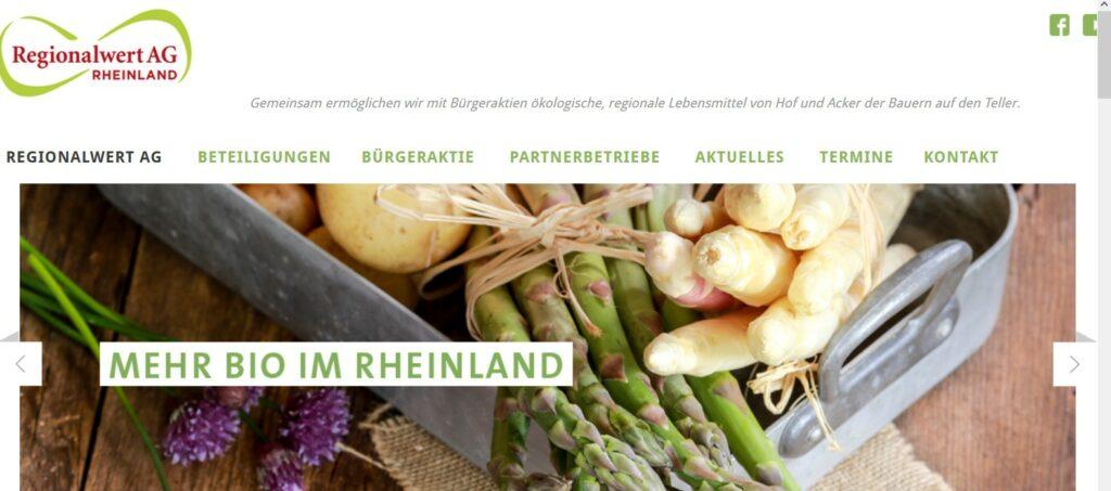 Screenshot der Startsteite von Regionalwert aG Rheinland
